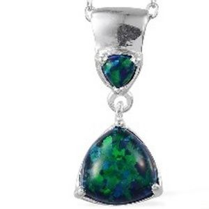 Black, Blue & Green Opal (Lab Created) Pendant